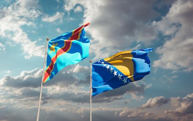 Flagi dr konga oraz bośni i hercegowiny. grafika 3d