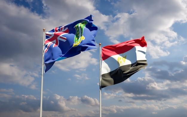 Flagi egiptu i brytyjskich wysp dziewiczych. grafika 3d