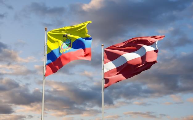 Flagi ekwadoru i łotwy. grafika 3d