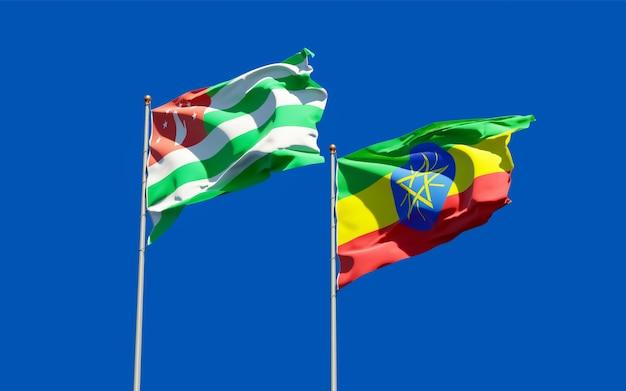Flagi etiopii i abchazji. grafika 3d