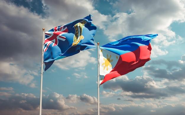 Flagi filipin i brytyjskich wysp dziewiczych. grafika 3d
