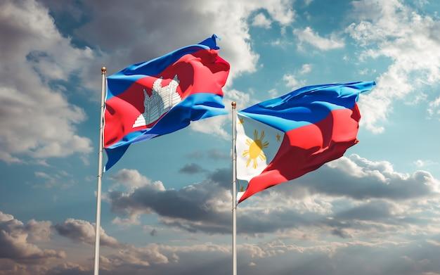 Flagi filipin i kambodży. grafika 3d