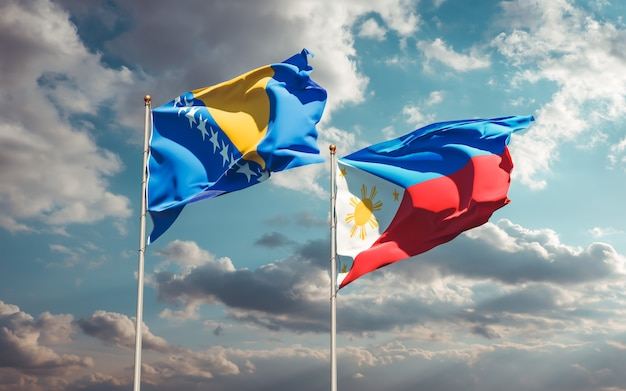 Flagi filipin oraz bośni i hercegowiny. grafika 3d