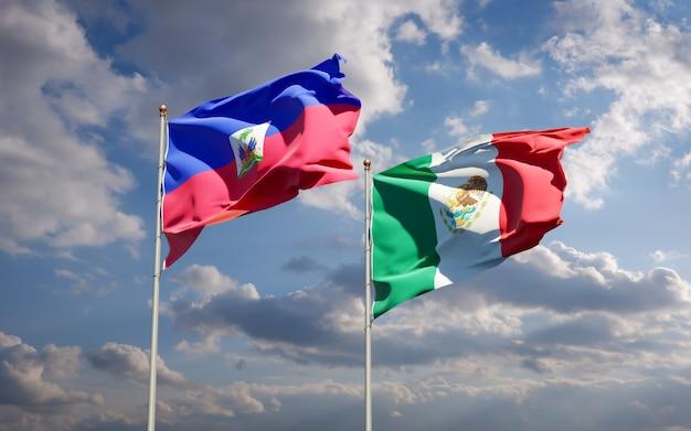 Flagi haiti i meksyku. grafika 3d