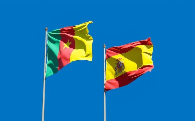 Flagi hiszpanii i kamerunu. grafika 3d