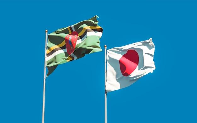 Flagi japonii i dominiki. grafika 3d