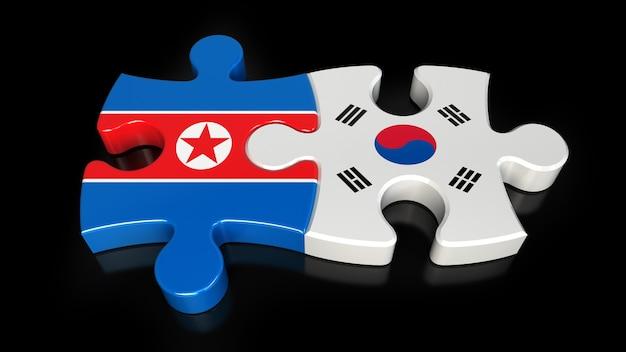 Flagi korei południowej i korei północnej na puzzlach. koncepcja relacji politycznych. renderowanie 3d