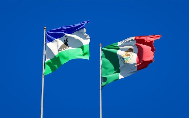 Flagi lesotho i meksyku. grafika 3d