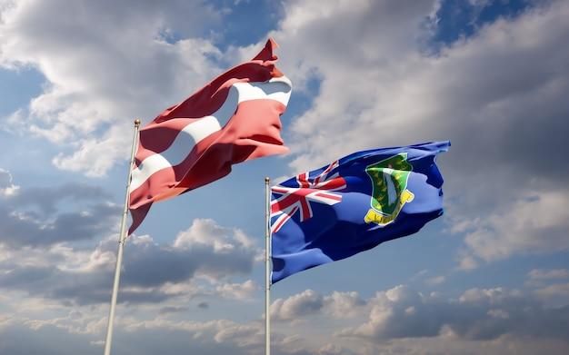 Flagi łotwy i brytyjskich wysp dziewiczych