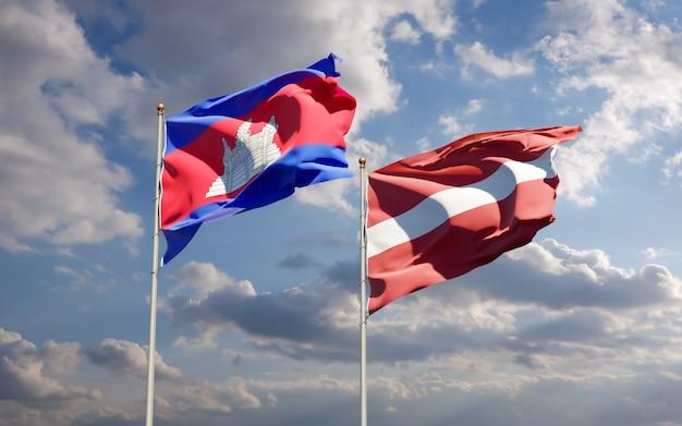 Flagi łotwy i kambodży