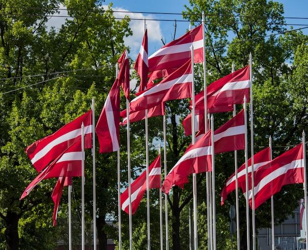Flagi łotwy macha na wietrze