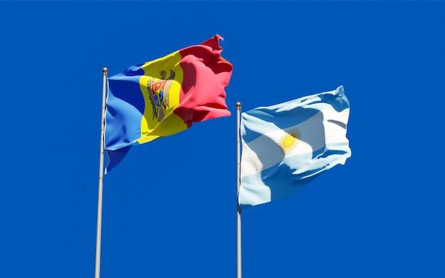 Flagi mołdawii i argentyny.