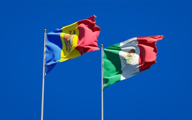 Flagi mołdawii i meksyku. grafika 3d