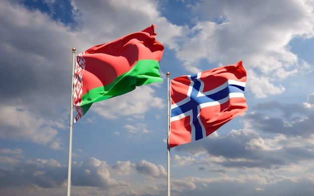 Flagi norwegii i białorusi.