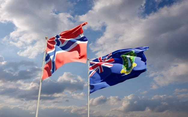 Flagi norwegii i brytyjskich wysp dziewiczych.