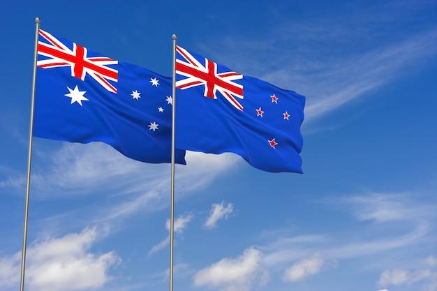 Flagi nowej zelandii i australii na tle błękitnego nieba. ilustracja 3d