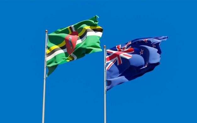 Flagi nowej zelandii i dominiki.