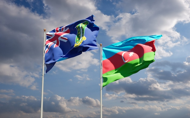 Flagi państwowe azerbejdżanu i brytyjskich wysp dziewiczych