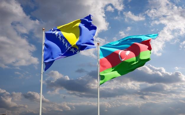 Flagi państwowe azerbejdżanu oraz bośni i hercegowiny