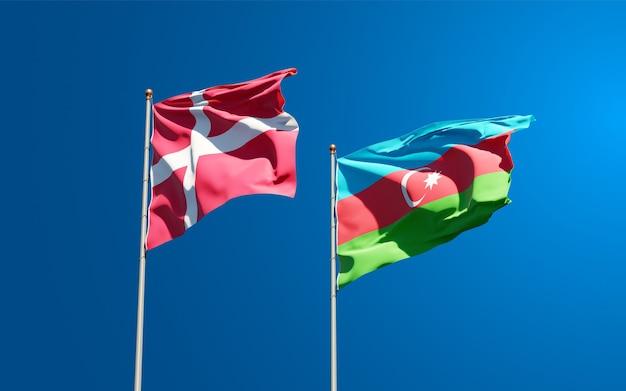 Flagi państwowe danii i azerbejdżanu razem