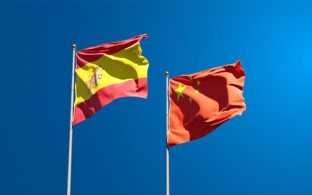 Flagi państwowe hiszpanii i chin razem