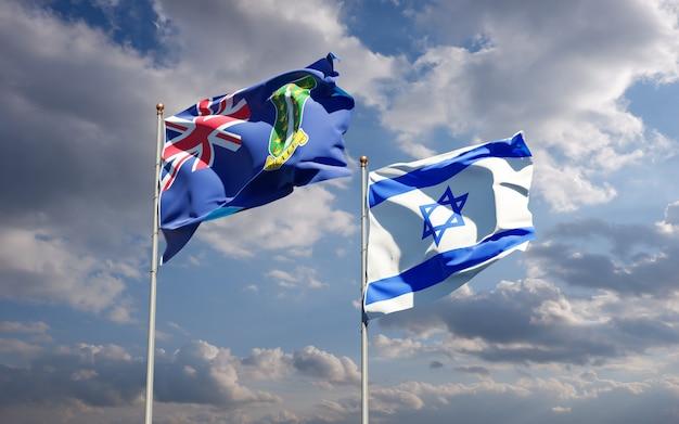 Flagi państwowe izraela i brytyjskich wysp dziewiczych razem na tle nieba