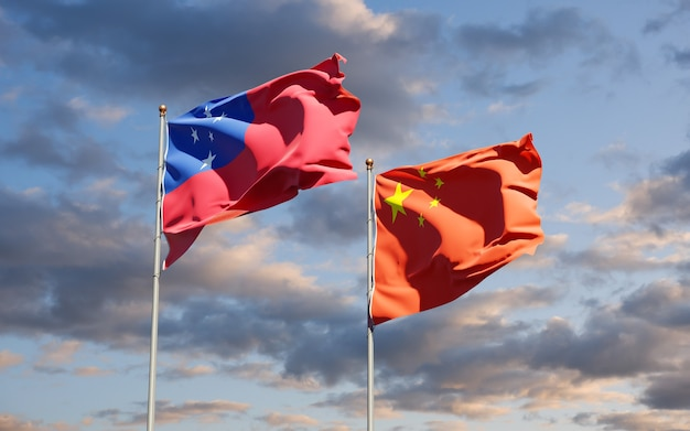 Flagi państwowe samoa i chin razem