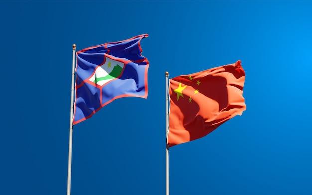 Flagi państwowe sint eustatius i chin razem