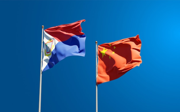 Flagi państwowe sint maarten i chin razem