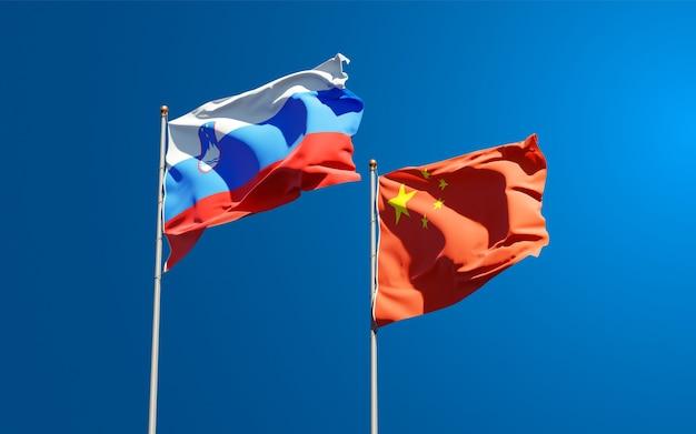 Flagi państwowe słowenii i chin razem