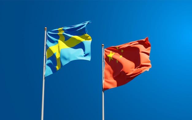 Flagi państwowe szwecji i chin razem