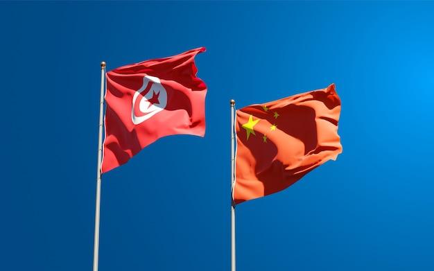 Flagi państwowe tunezji i chin razem