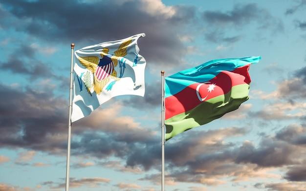 Flagi państwowe wysp dziewiczych stanów zjednoczonych i azerbejdżanu razem
