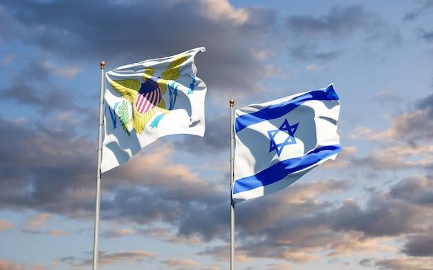 Flagi państwowe wysp dziewiczych stanów zjednoczonych i izraela razem na tle nieba