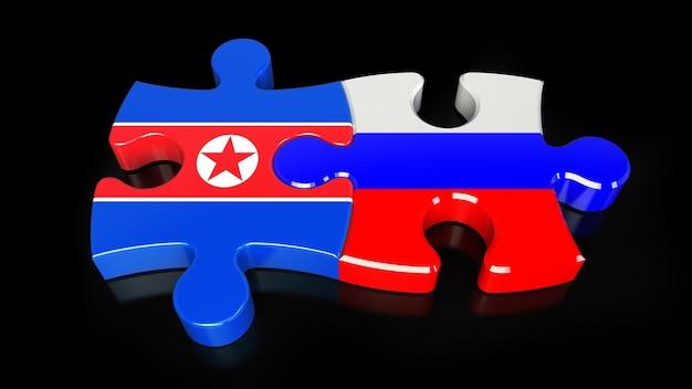 Flagi rosji i korei północnej na puzzlach. koncepcja relacji politycznych. renderowanie 3d