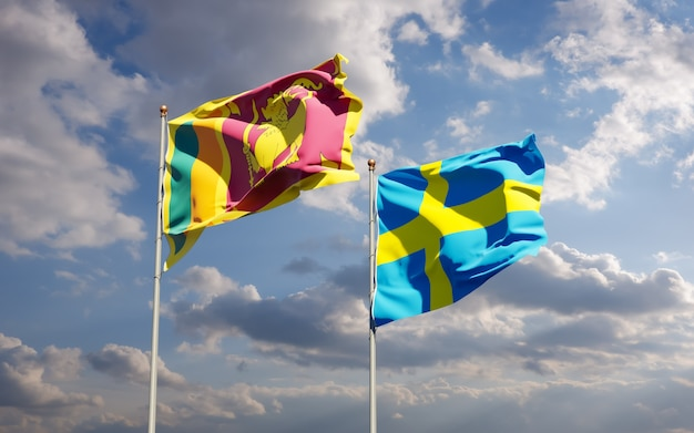 Flagi sri lanki i szwecji