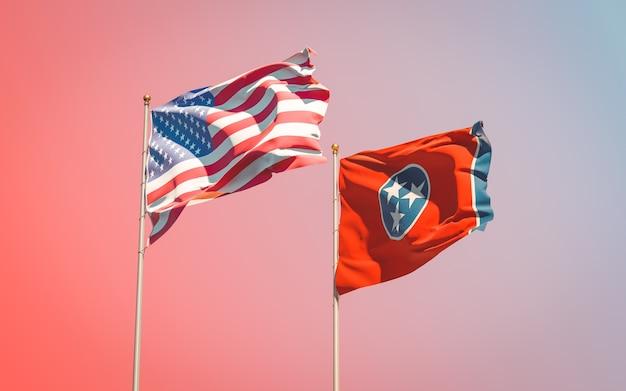 Flagi stanu usa w south tennessee na gradientu nieba
