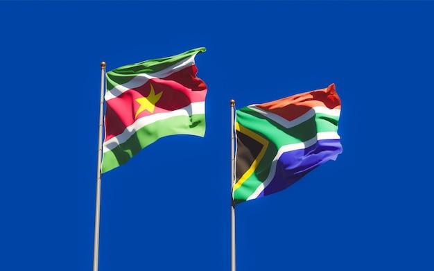 Flagi surinamu i afryki sar. grafika 3d