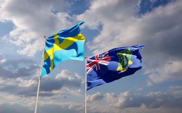 Flagi szwecji i brytyjskich wysp dziewiczych. grafika 3d