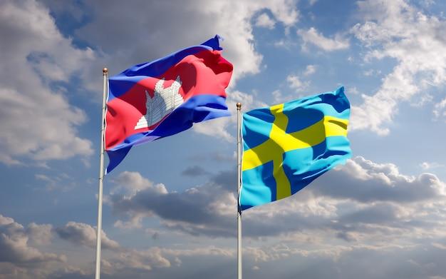 Flagi szwecji i kambodży. grafika 3d