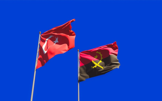 Flagi turcji i angoli. grafika 3d