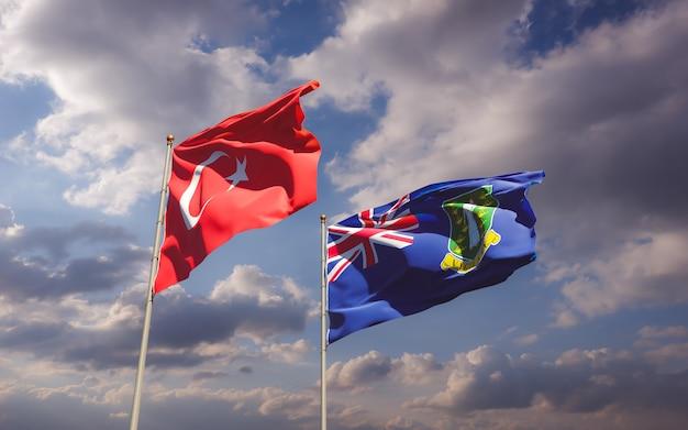 Flagi turcji i brytyjskich wysp dziewiczych. grafika 3d