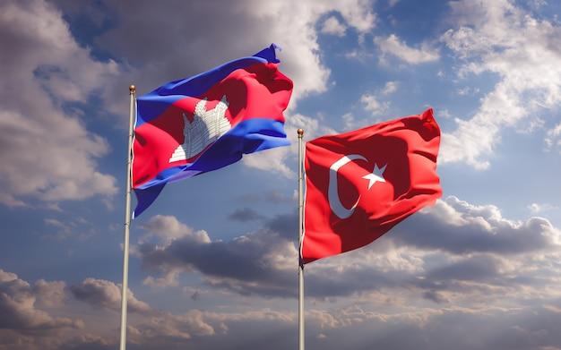Flagi turcji i kambodży. grafika 3d