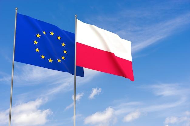 Flagi unii europejskiej i polski na tle błękitnego nieba. ilustracja 3d