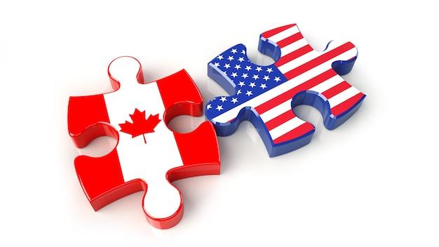 Flagi usa i kanady na puzzlach. koncepcja relacji politycznych. renderowanie 3d