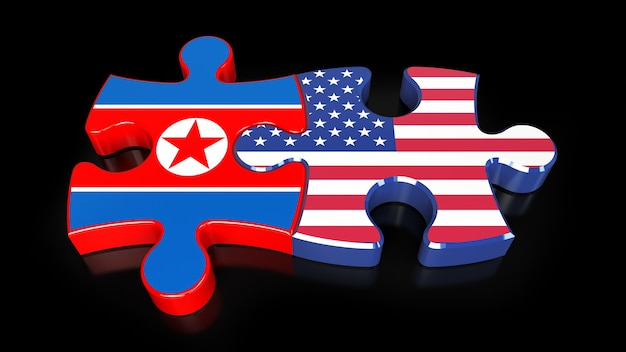 Flagi usa i korei północnej na puzzlach. koncepcja relacji politycznych. renderowanie 3d