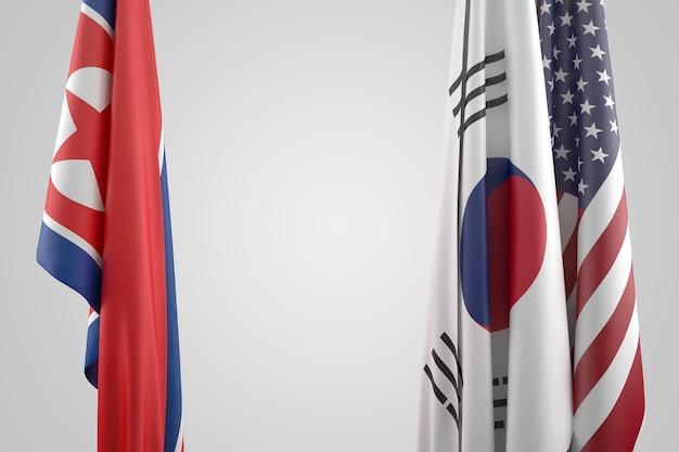 Flagi usa, korei południowej i północnej. koncepcja konfrontacji politycznej