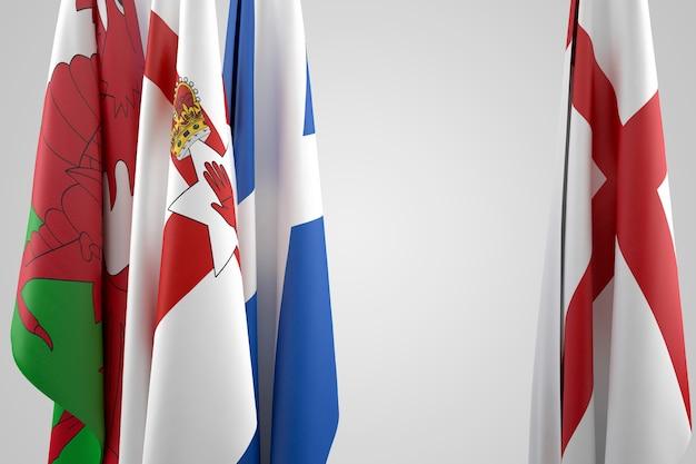 Flagi wielkiej brytanii - anglii, szkocji, walii i irlandii północnej. zawiera ścieżkę przycinającą
