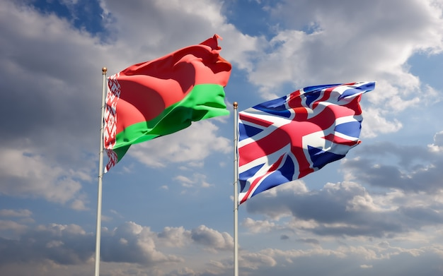 Flagi wielkiej brytanii, wielkiej brytanii i białorusi. grafika 3d