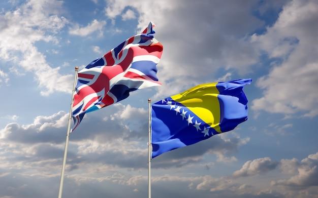 Flagi wielkiej brytanii, wielkiej brytanii oraz bośni i hercegowiny. grafika 3d